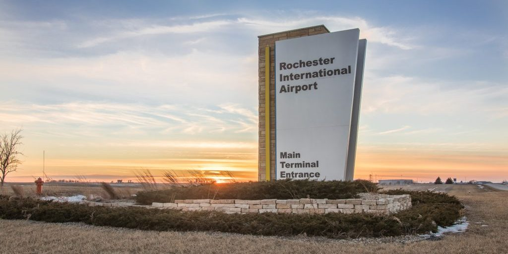 Rochester International Airport Sign